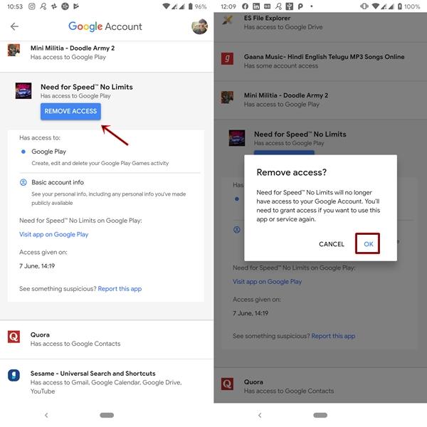 Remove app access in Google account