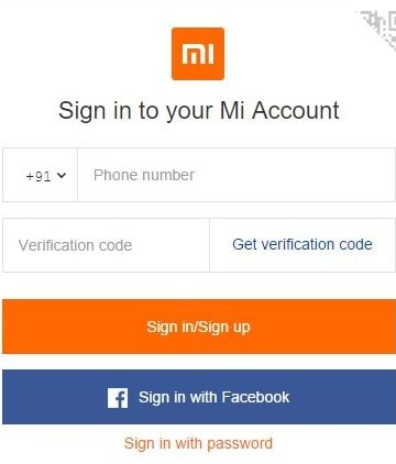 Sign in to your Mi Acocunt