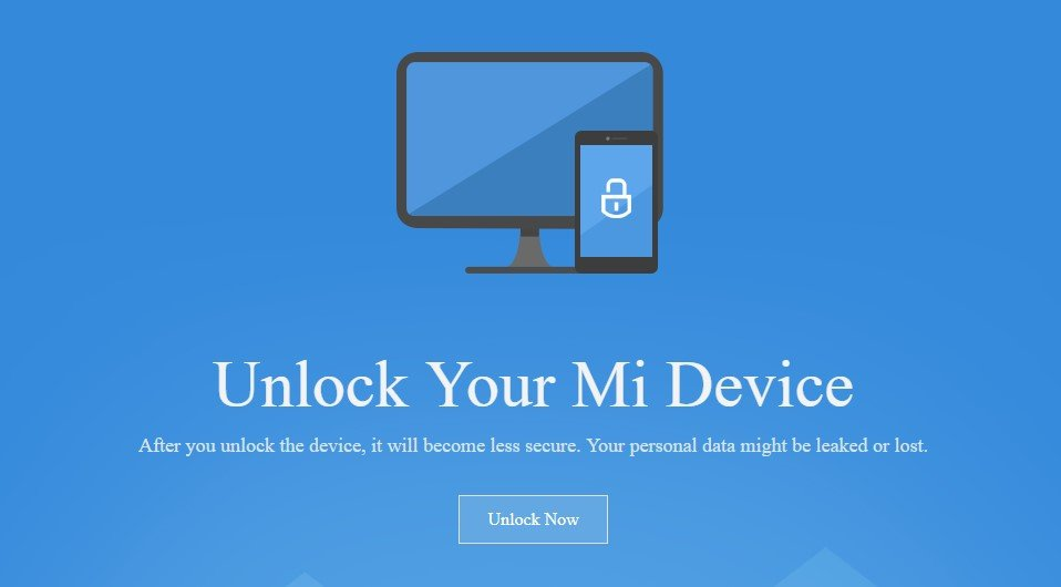Unlock Now page for Xiaomi Devices