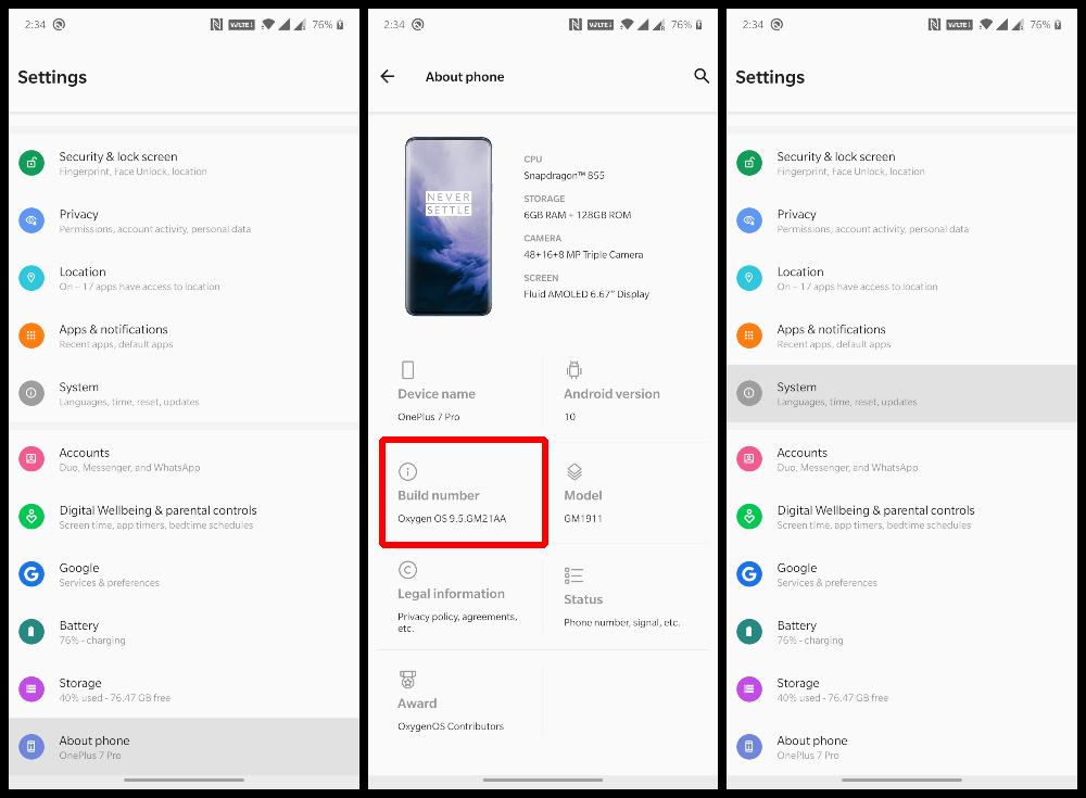 Android Q Developer options