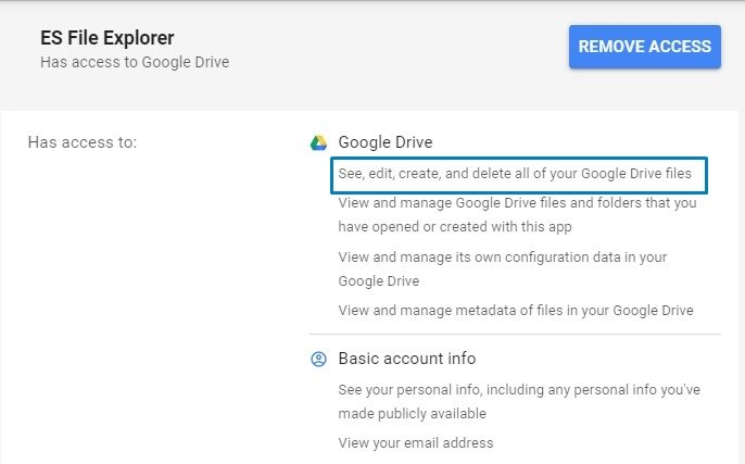 es file explorer app access