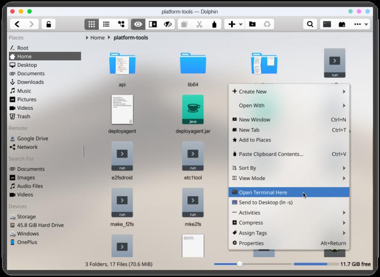 Open ADB Terminal Linux