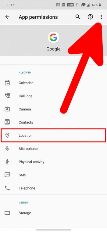 Google app location permissions