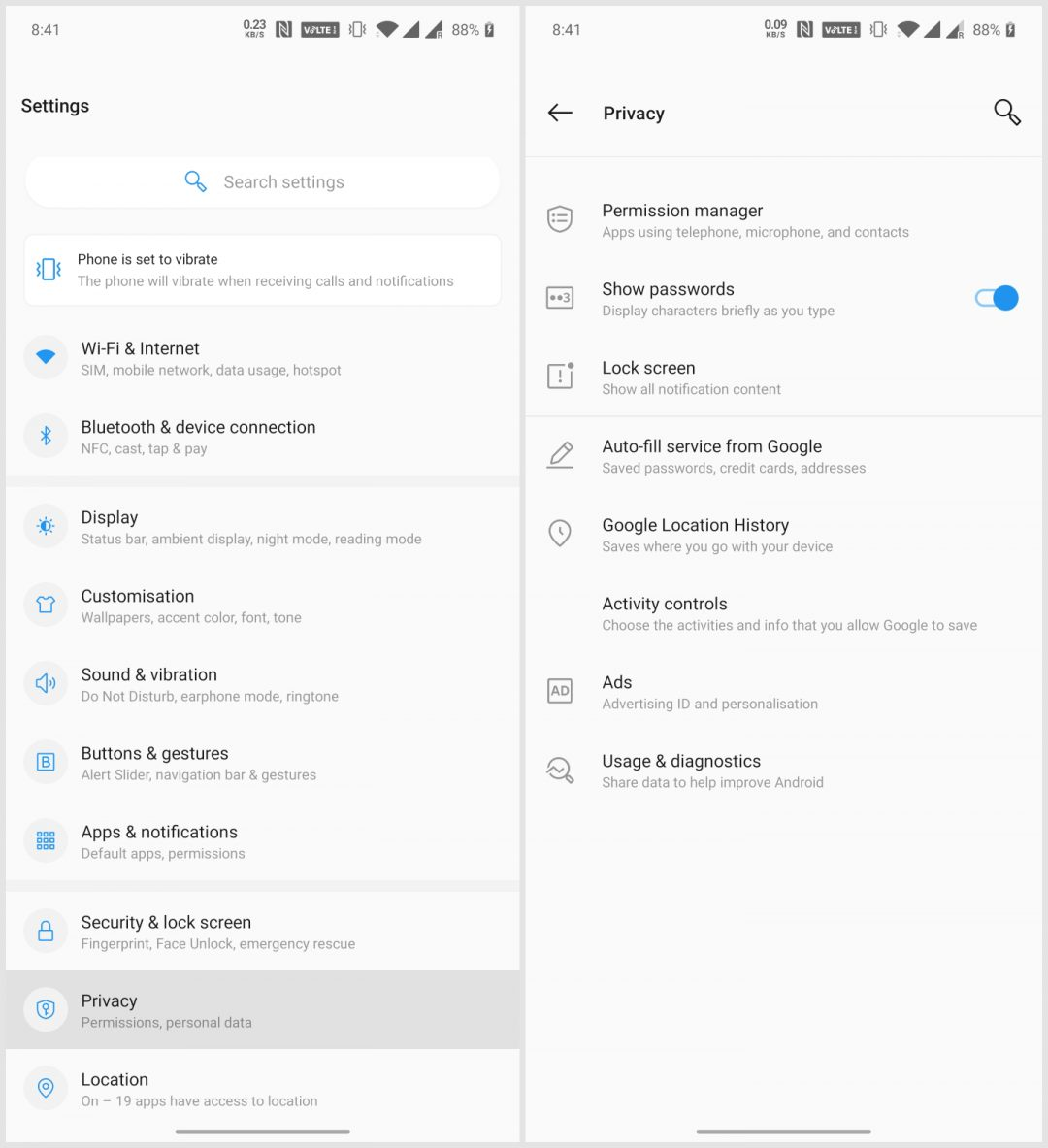 Android 10 privacy controls