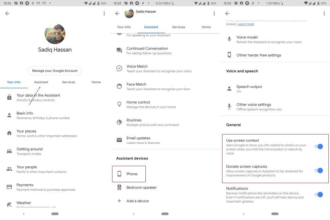 Assistant Enable Screenshots