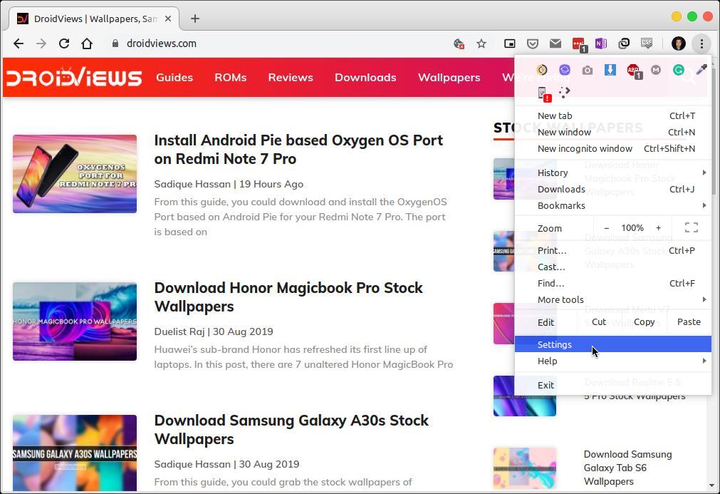 Chrome desktop settings menu