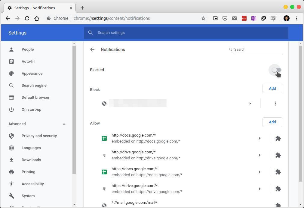 disable Chrome desktop notifications