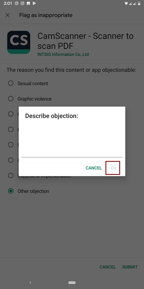 Describe malicious app