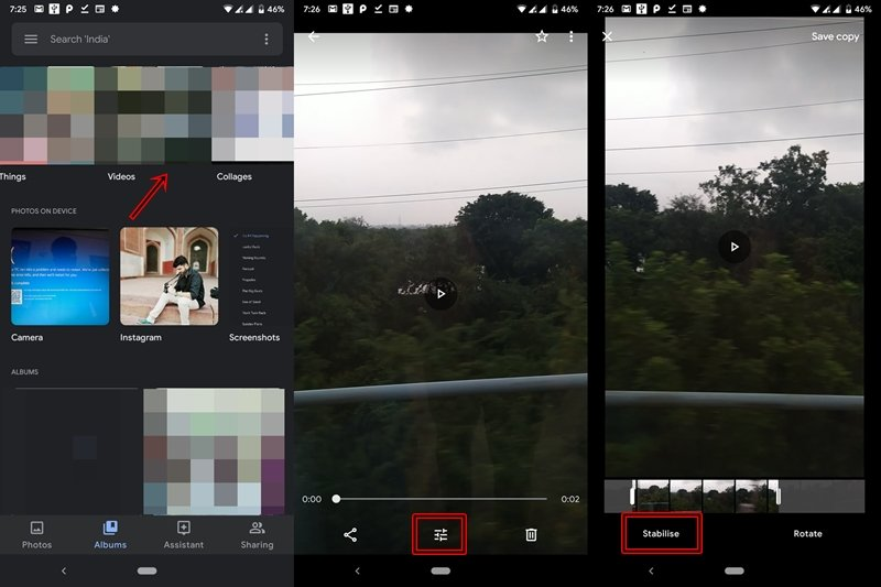 stabilize video in google photos