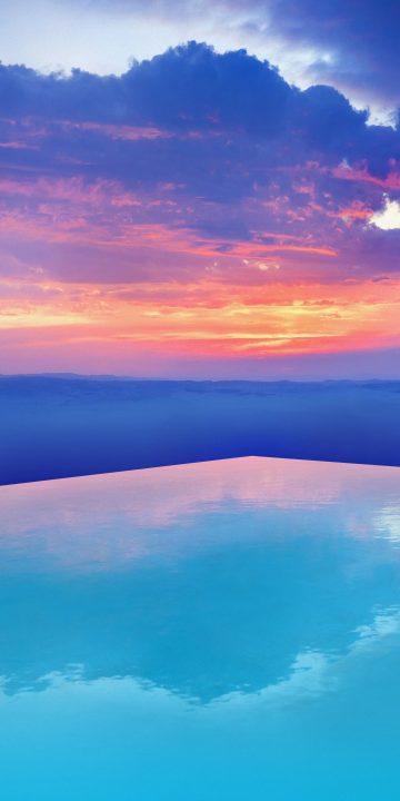 LG V35 sunset sky wallpaper