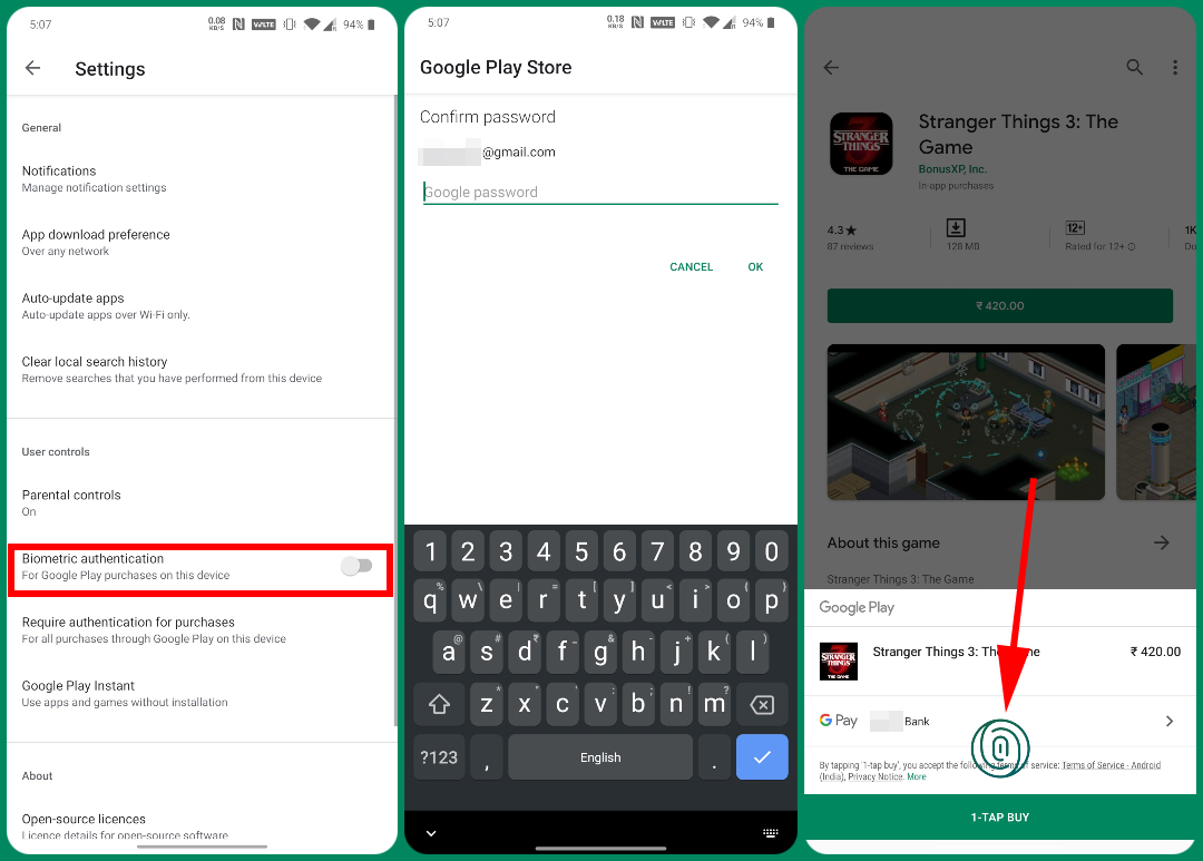 Play Store Fingerprint Authentication