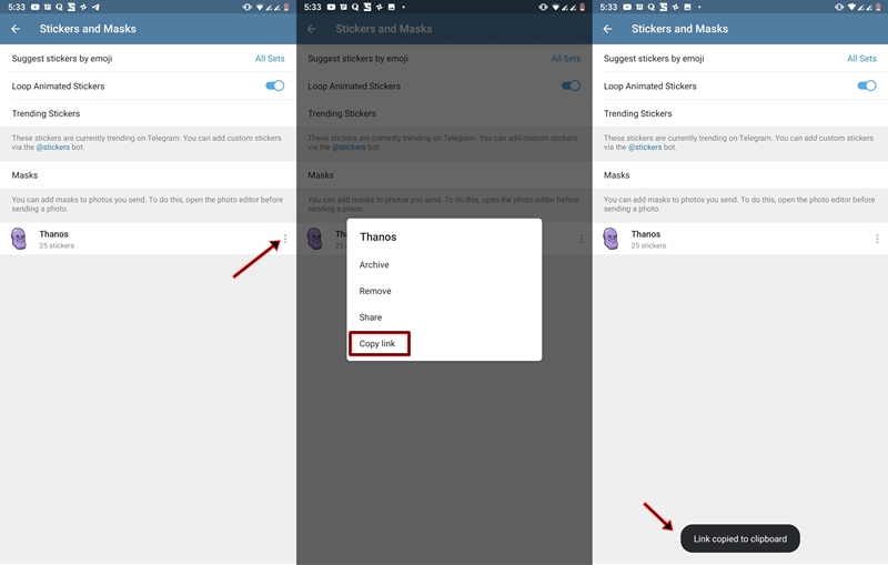 Telegram stickers link