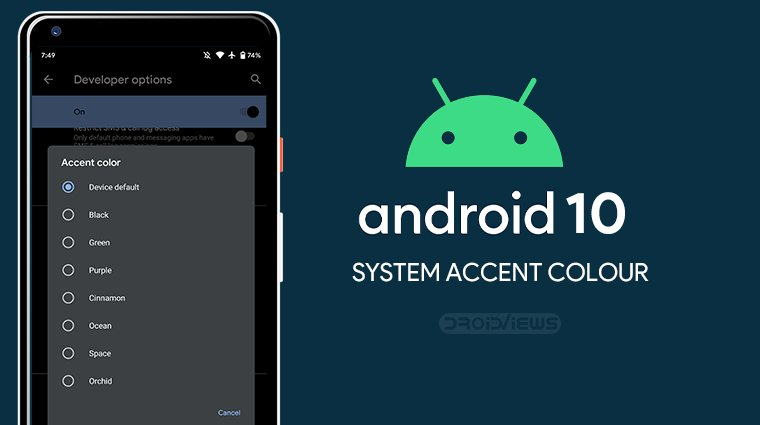 ssystem accent color android 10