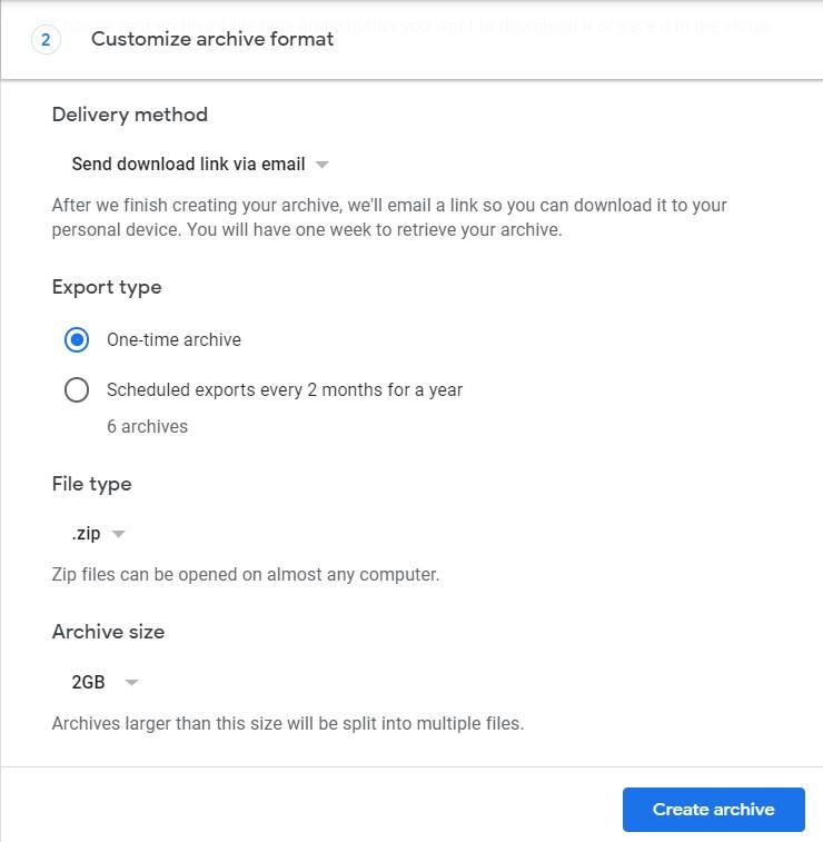 create google activities archive