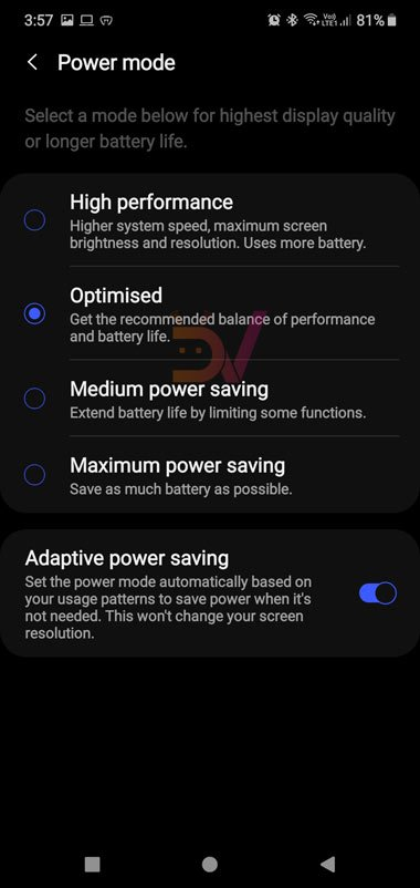 galaxy note 10 power-saving mode
