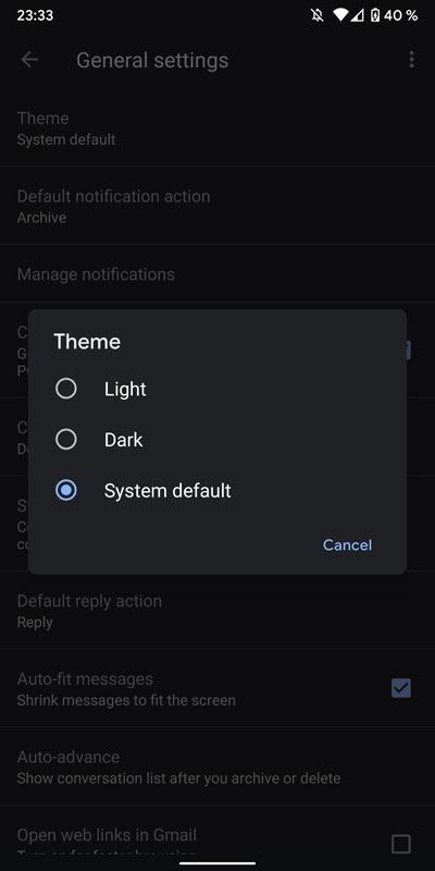 gmail android dark theme