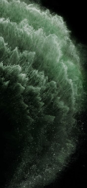 iPhone 11 pro green particles wallpaper
