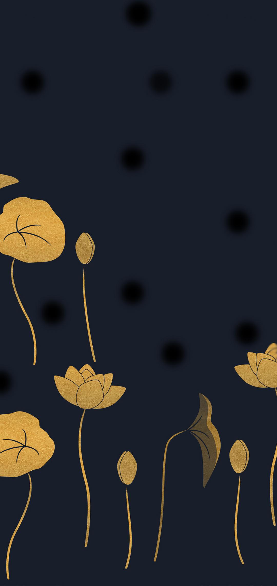 golden lotus art wallpaper