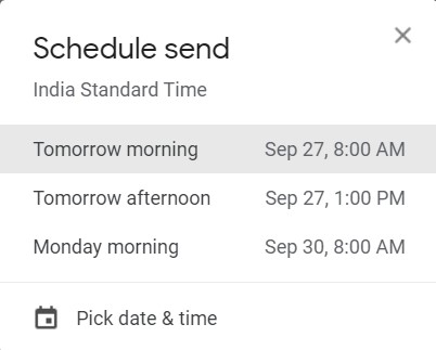 schedule email options