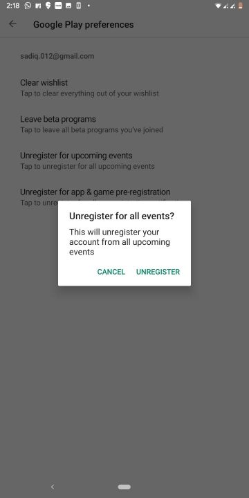 unregister events