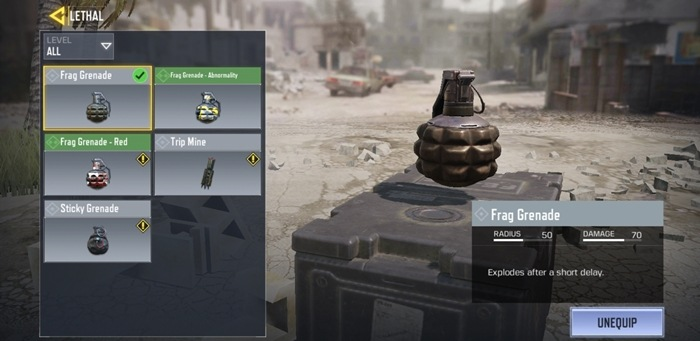 Throwables Options in cod mobile