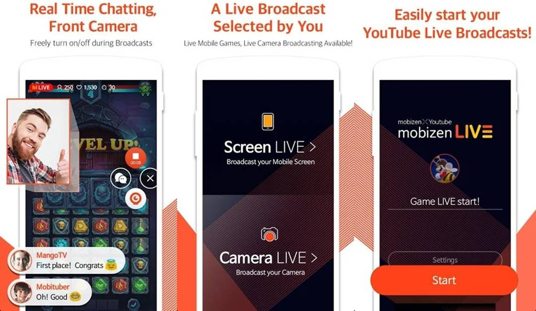Mobizen live streaming android app
