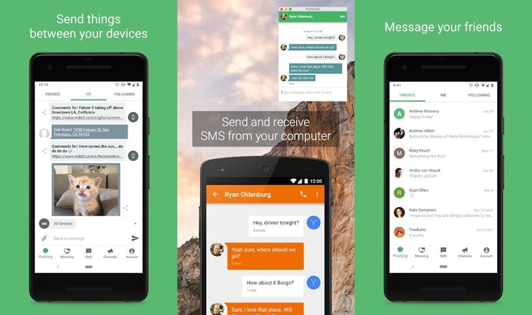 Pushbullet app's material design