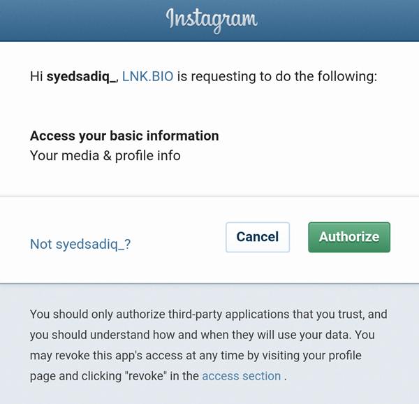 authorize instagram data