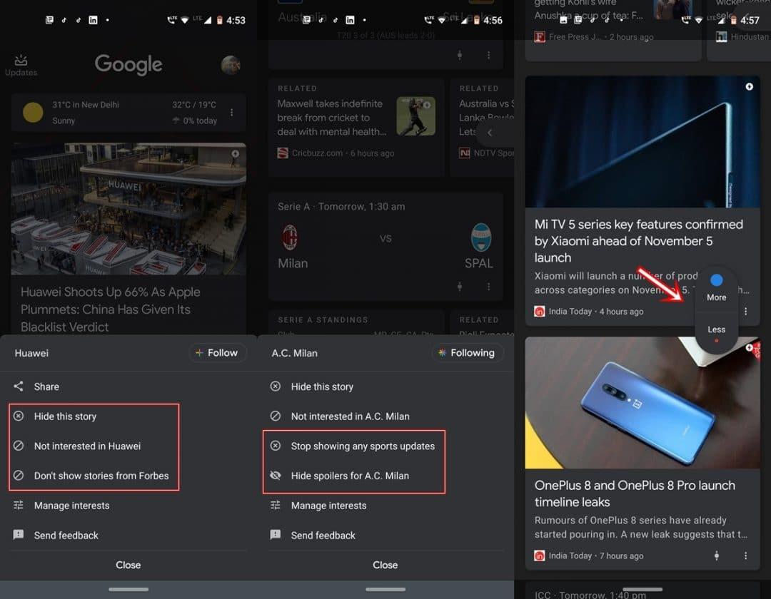 customize google feeds