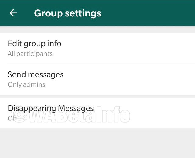 disappearing messages option