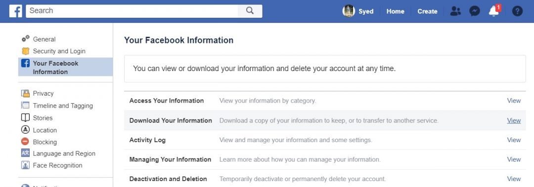 download facebook info