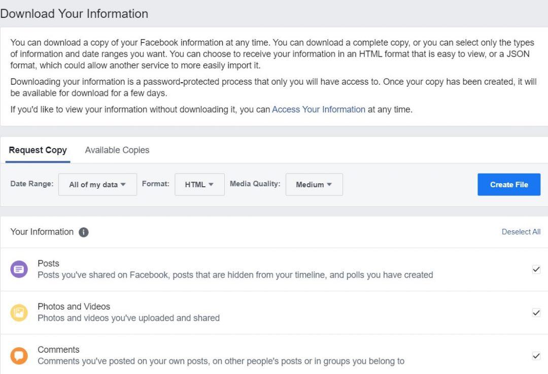 facebook data info