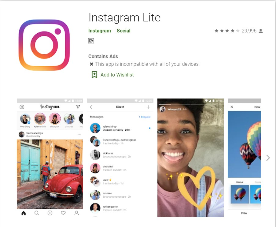 instagram lite incompatible