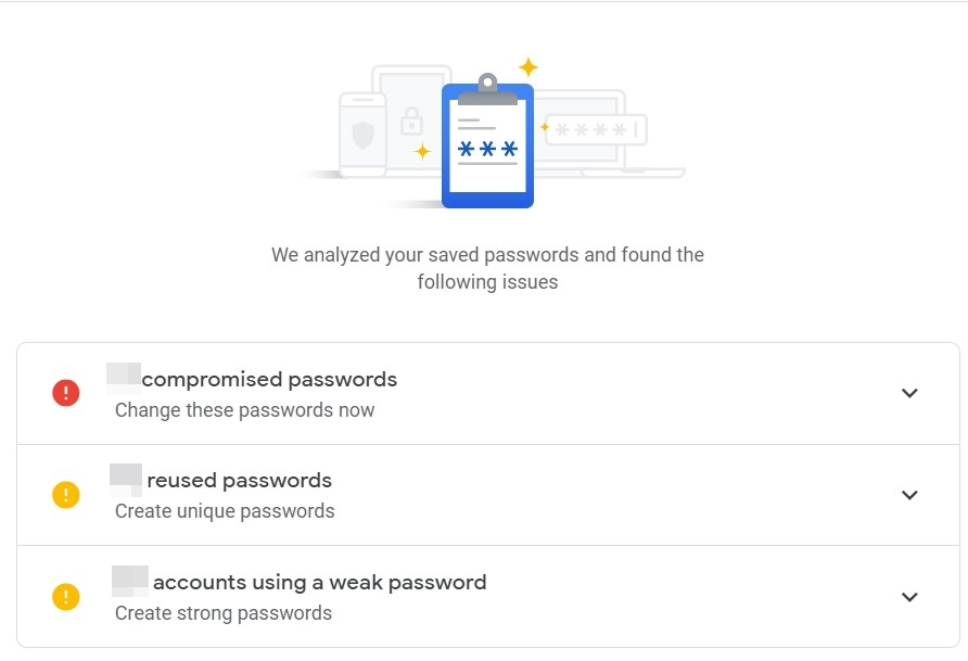 password checkup issue