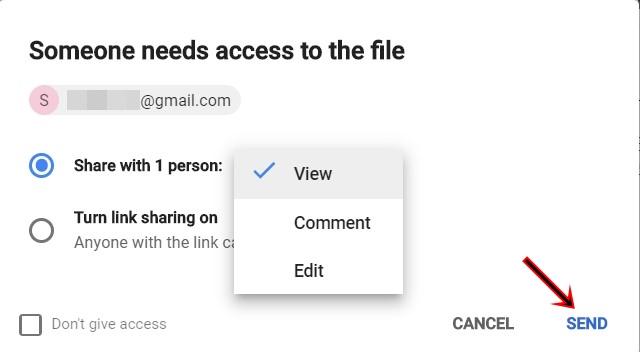 sharing option