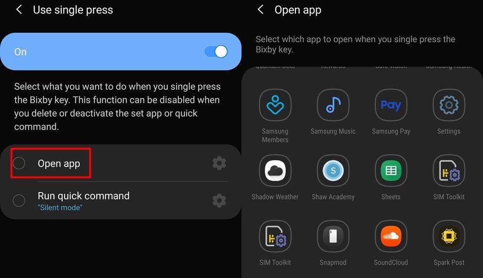 Bixby key app selection