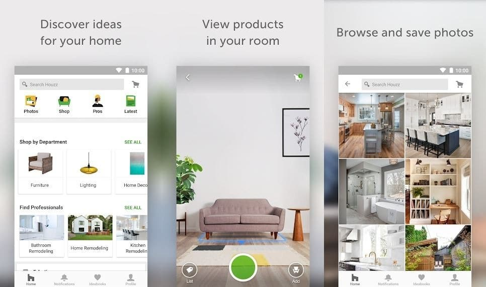 Houzz augmented reality app