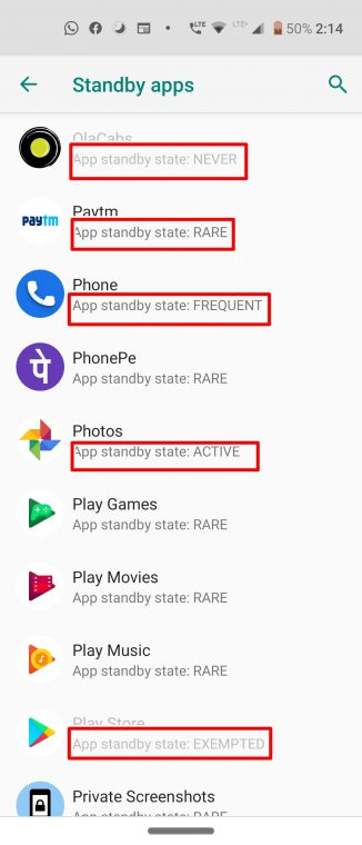 standby apps list