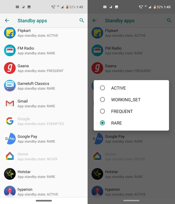 choose standby app mode
