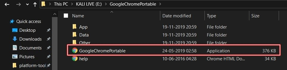 chrome portable launch
