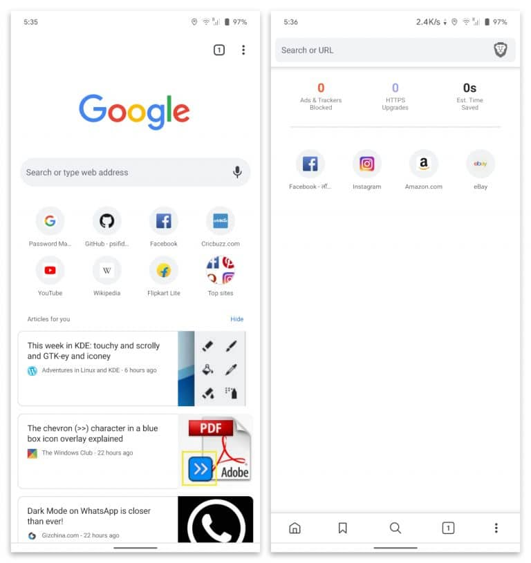 Brave Browser vs Google Chrome interface android