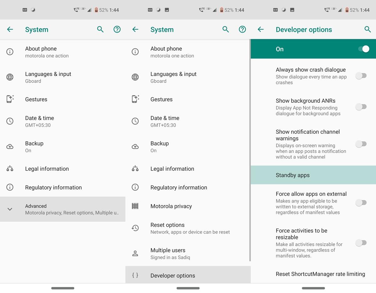 developer options standby apps