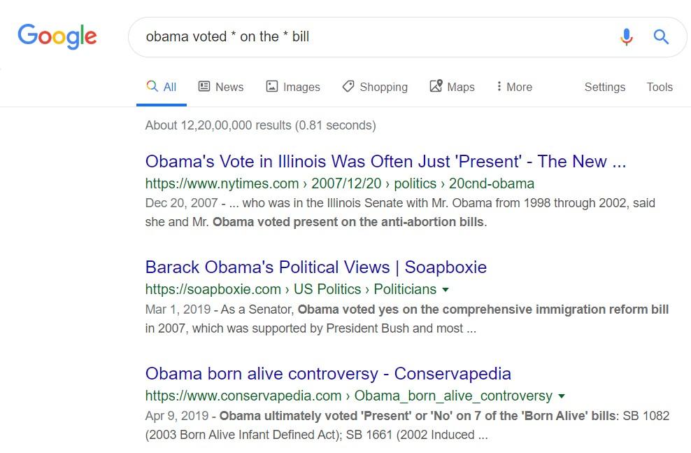 google search asterick