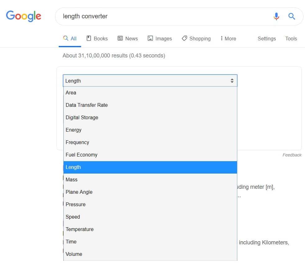 google search converter