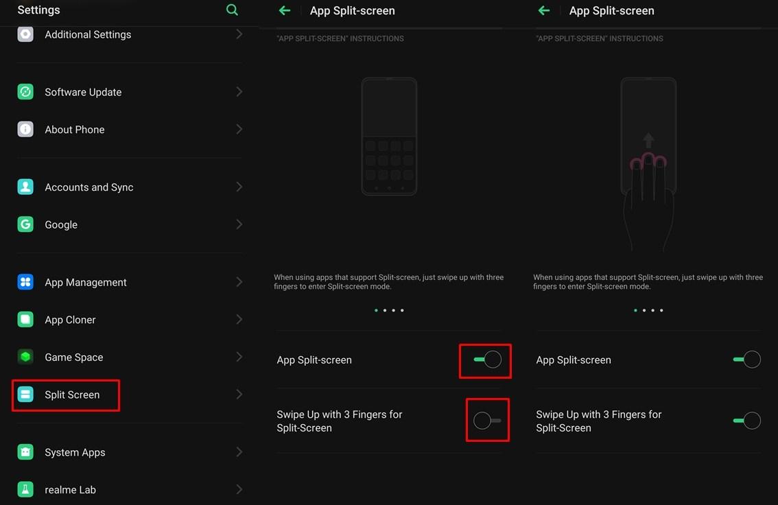 Split-screen feature Color OS
