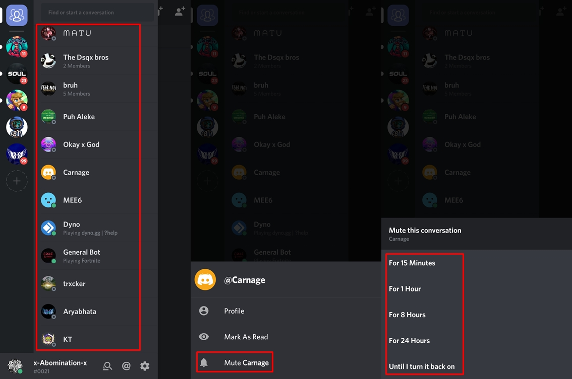 Discord timed muting feature
