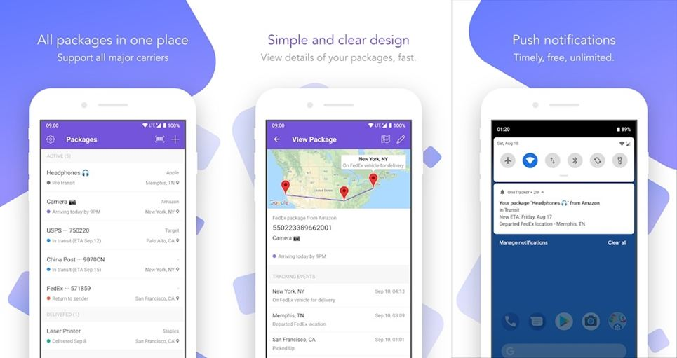 OneTracker package tracking app