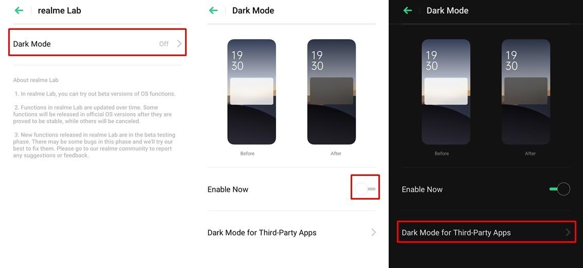 dark mode on Realme X2 Pro