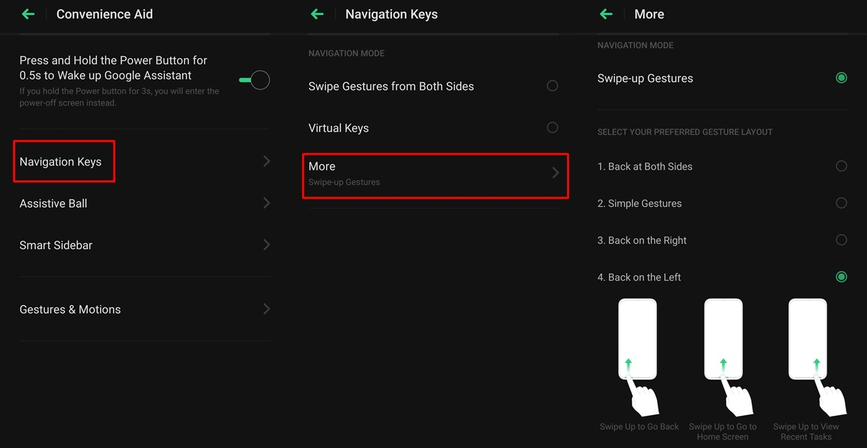 Color OS Swipe Gestures settings