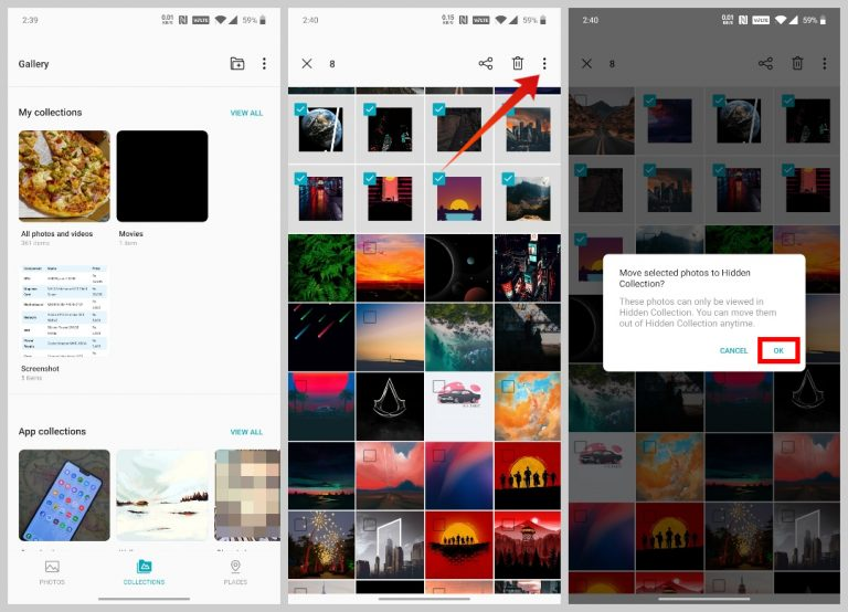 hide photos in oneplus galley